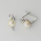 Pendientes de perla y brillantes