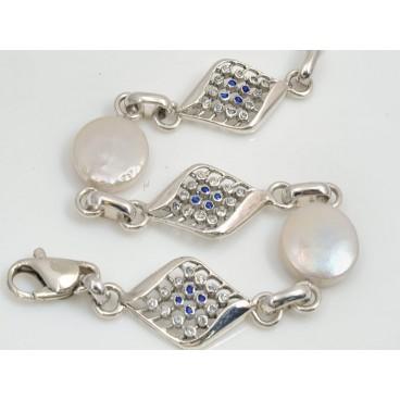 Pulsera de plata, perlas y zafiros