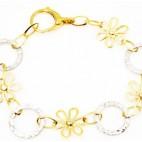 Pulsera de oro con flores y anillas